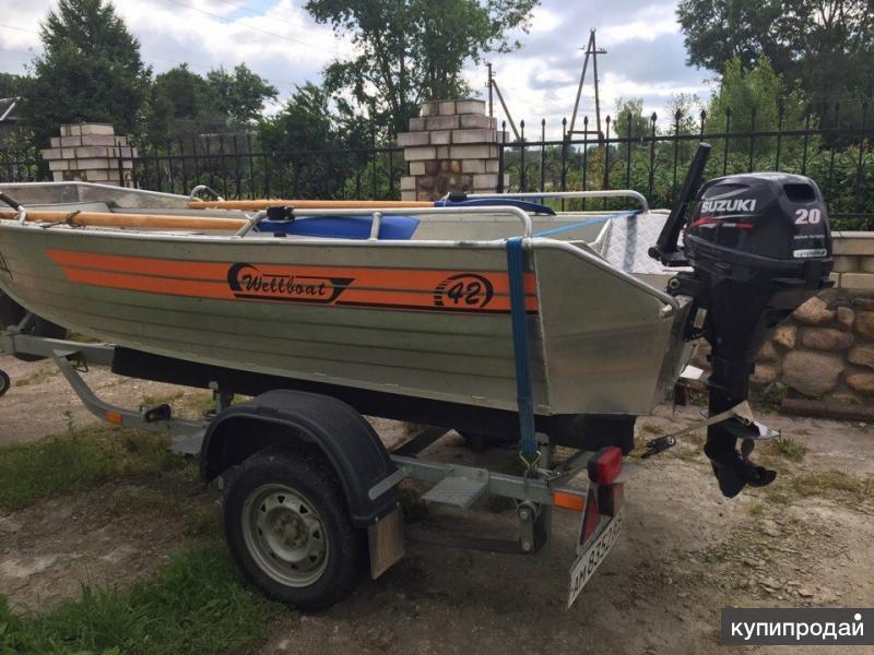 Wellboat 42 , suzuki DF20A 20л.с, трейлер прицеп