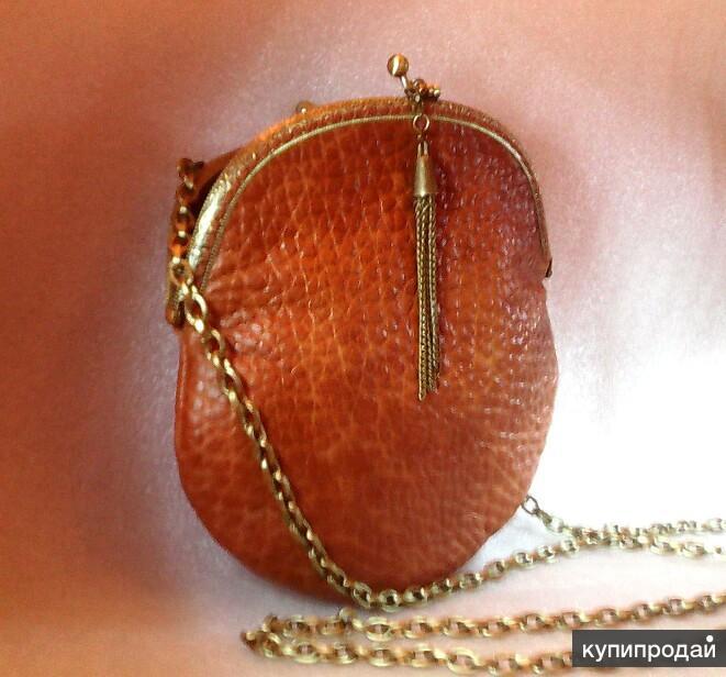 Маленькая кожаная сумочка коньячного цвета Handmade