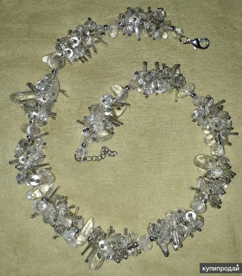 Ожерелье ручной работы из горного хрусталя с цирконами