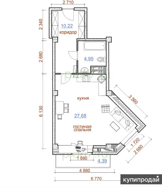 "Продам квартиру в  ЖК ""Олимп"" 1-к квартира, 47 м2, 5/9 эт."