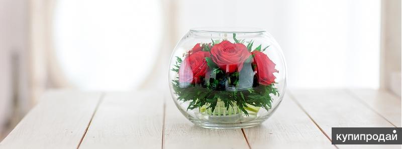 Цветы в стекле. Не увядают 5 лет. Розы, орхидеи.
