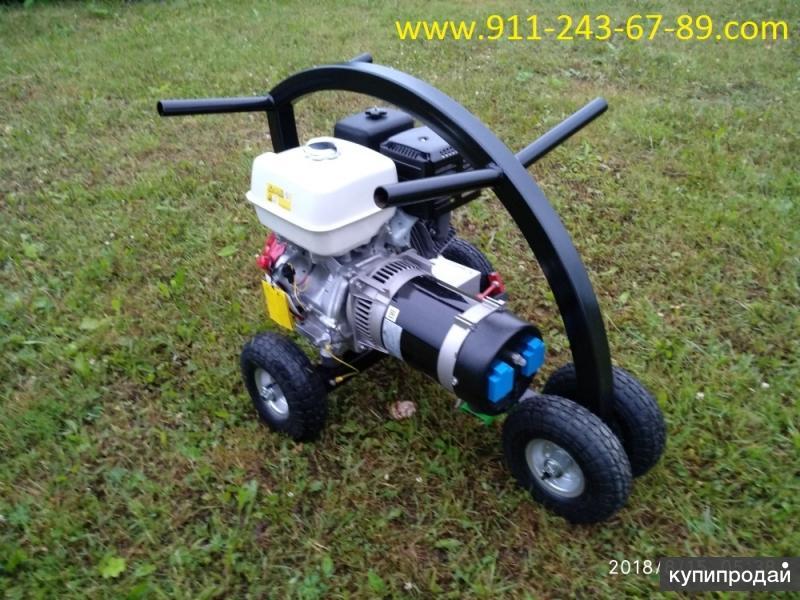 Бензиновый электрогенератор 5 кВт (кВА) на колёсах - колёсном шасси