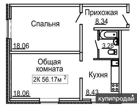 2-к квартира, 56 м2, 1/10 эт.
