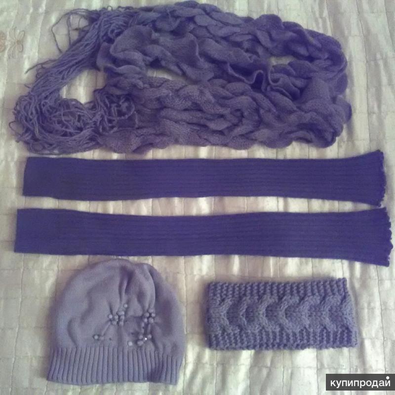 Теплые серые аксессуары: шапка, шарф, гетры, повязка на голову