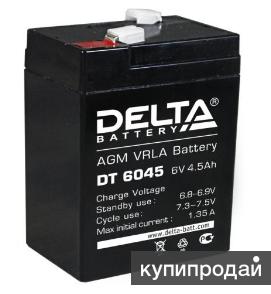 Аккумулятор 6 в 4,5 Ач DELTA для машинок детских Новый