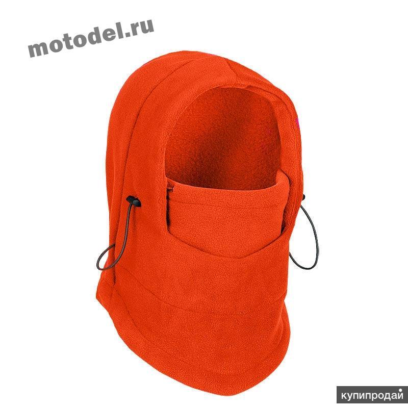 Балаклава шапка трансформер, теплая - флис (зимняя маска), оранжевая