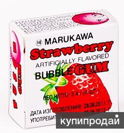 ЖЕВАТЕЛЬНАЯ РЕЗИНКА «MARUKAWA» со вкусом клубники 5,4 гр.(4 шарика по 1,35 гр.)