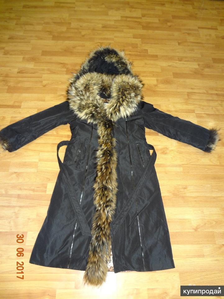 Пальто женское на меху, отделка енот