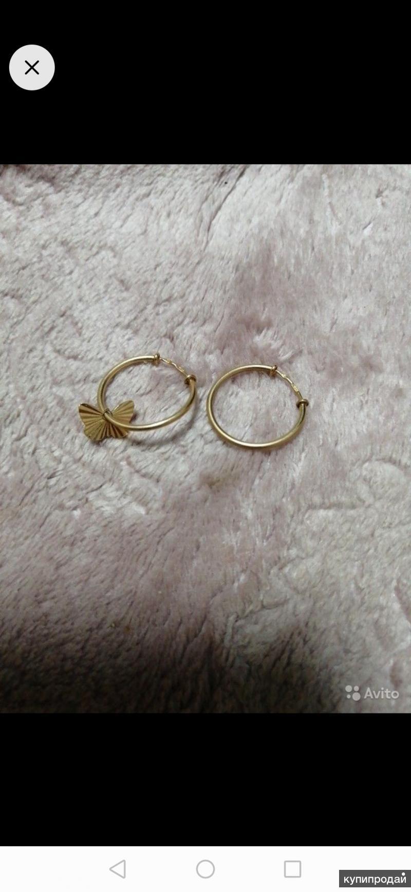 Серьги кольца (ассиметрия) 585 проба