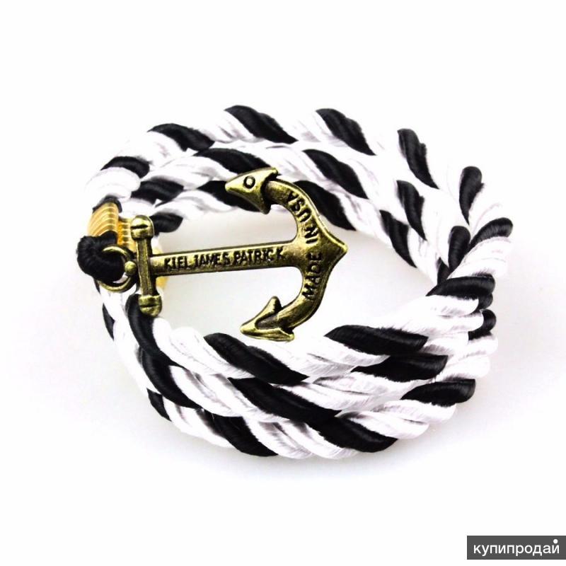 Браслет с якорем Kiel James Patrick Style, чёрно-белый (R120)