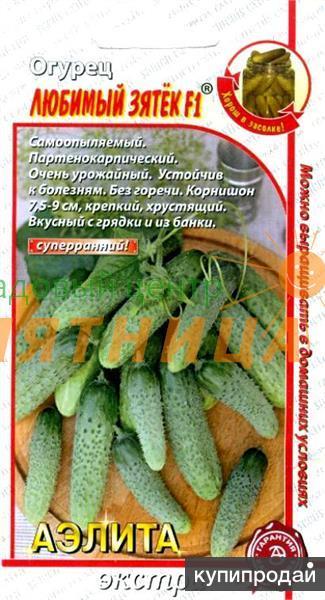Продам семена-Огурец Любимый зятек F1, супер-ранний, урожайный, хрустящий