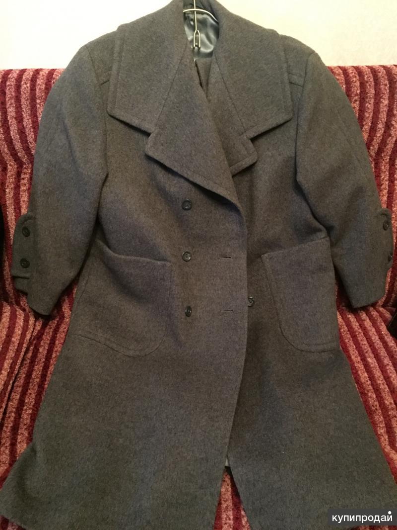 Драповое натуральное пальто