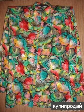 Яркая шелковистая блузка, винтаж