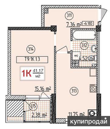 1-к квартира, 42 м2, 3/7 эт.