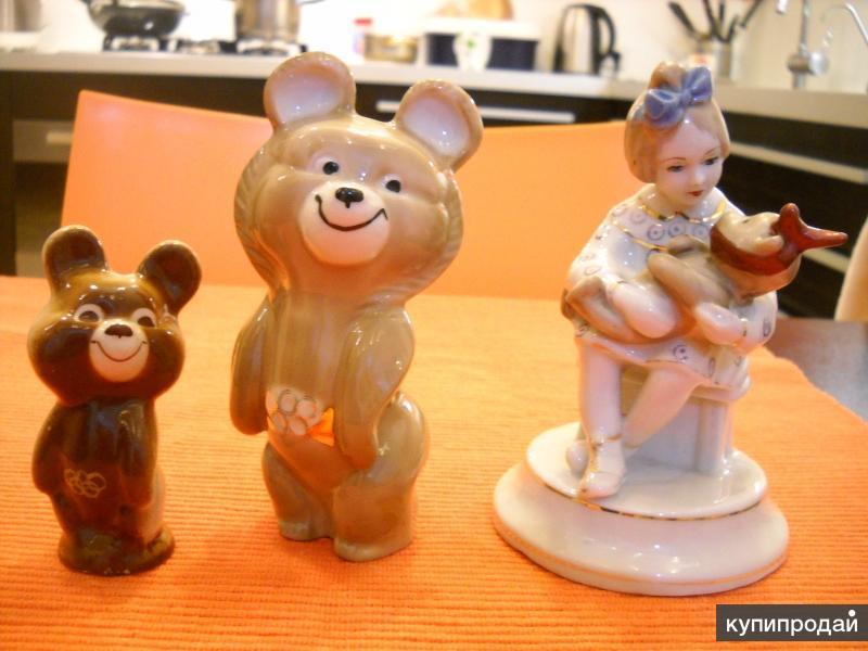 Фарфоровые статуэтки Мишка Олимпийский