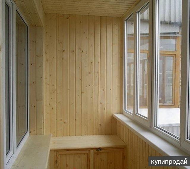 Отделка балкона (деревянная вагонка) (кирпичный дом) в екате.