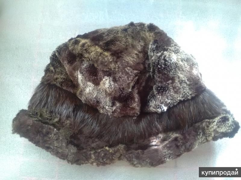 Шапка - шляпка, меховая комбинированная