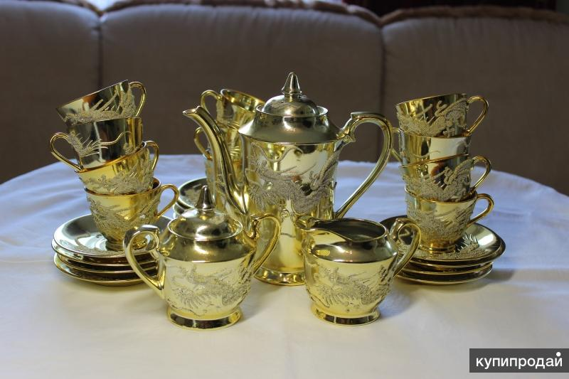 Сервиз кофейный Япония Золотые Драконы 12 персон