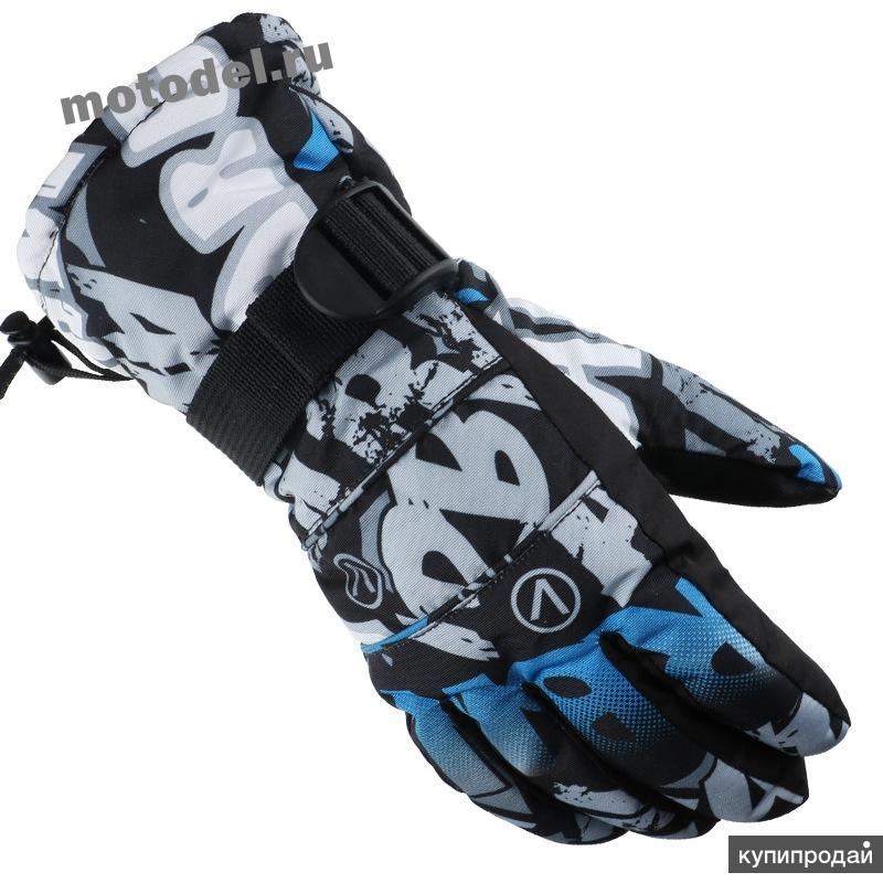 Зимние перчатки для снегохода, сноуборда, лыж, черно-серые
