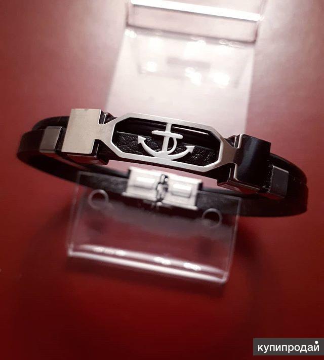 Мужской кожаный браслет Anchor Silver RM250