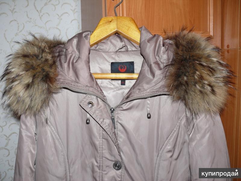 Пальто, мех енот, р-р 52-54, наполнитель синтепон