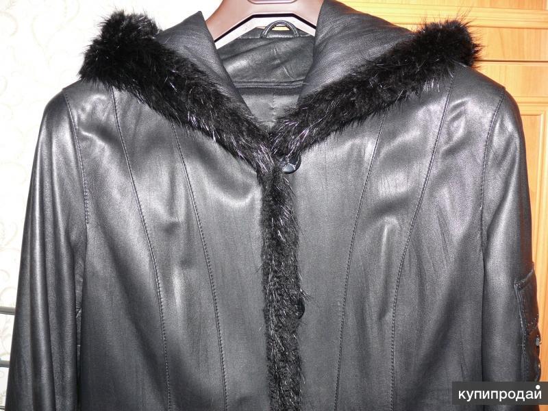Кожаное пальто женское с капюшоном, мех нутрии