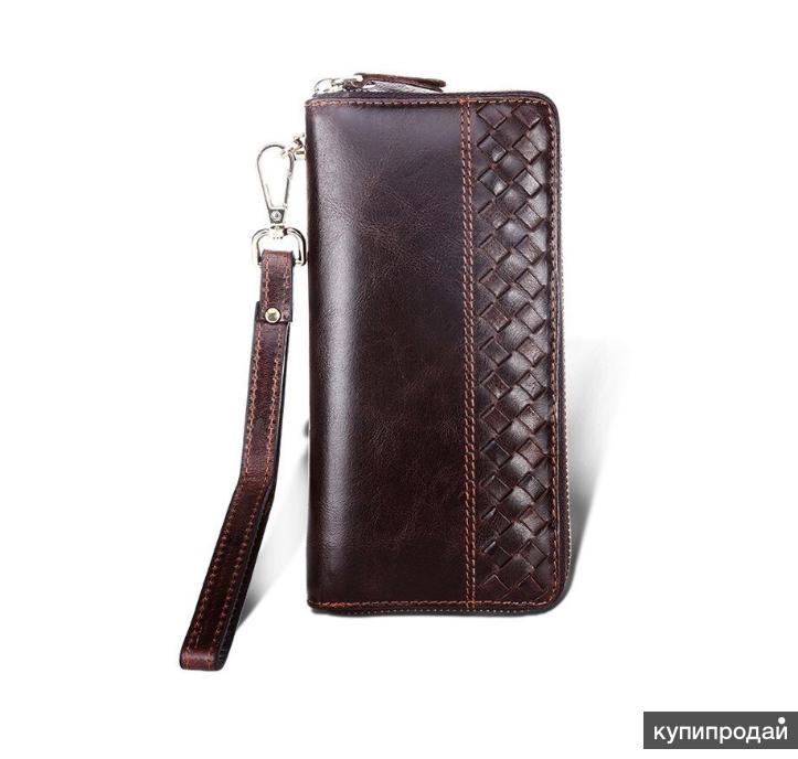 Стильный мужской бумажник большой вместимости,100% натуральная кожа