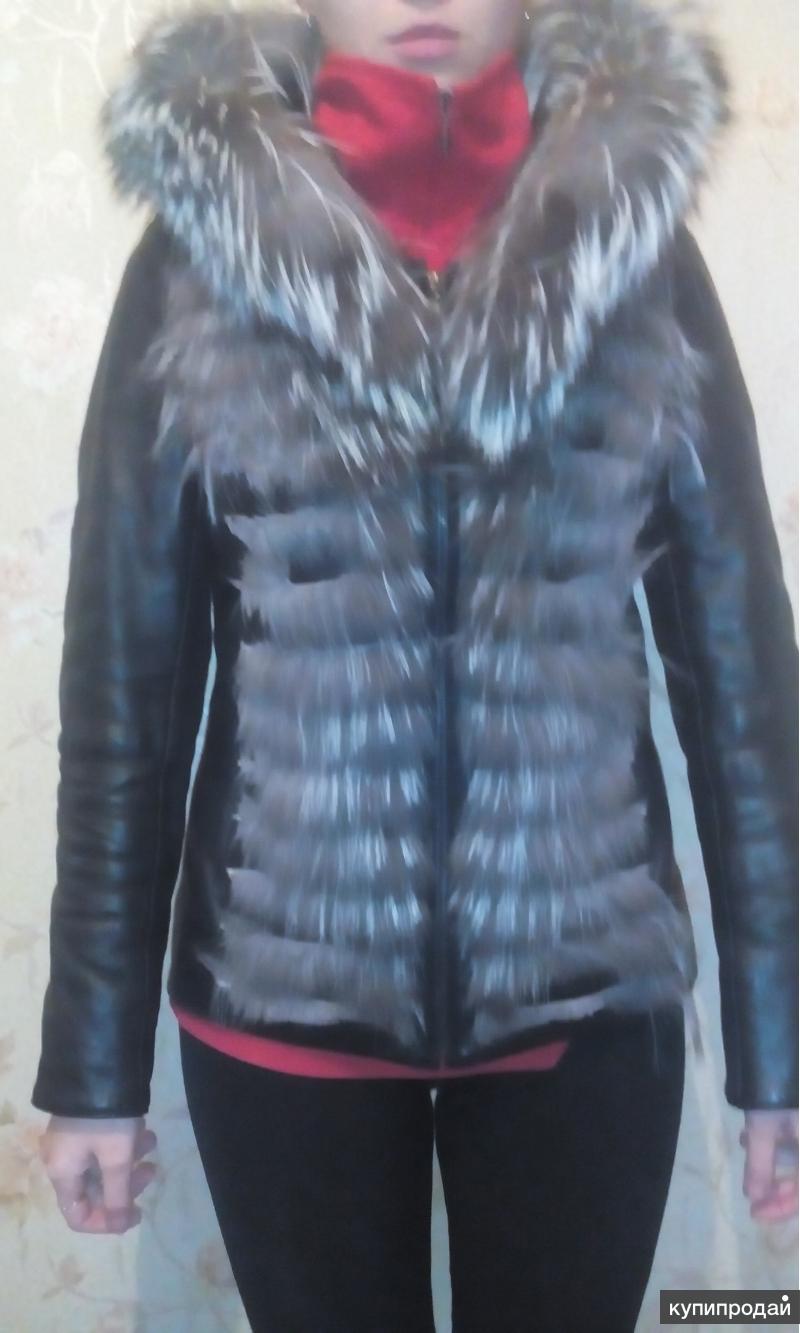 Продаю кожаную утепленную куртку б/у