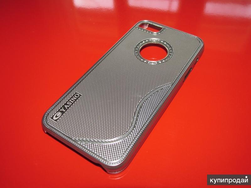 Серебристый блестящий чехол с вырезом под логотип для apple iPhone 5/5S