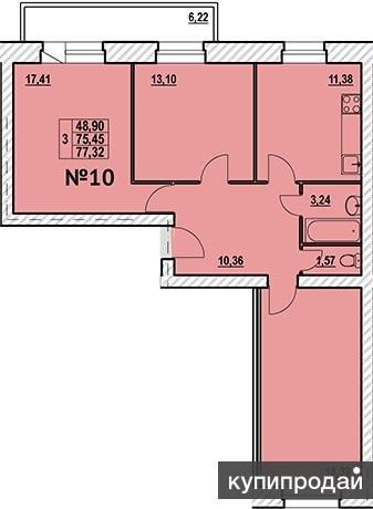 Продаю просторную Трёхкомнатную квартиру в новом доме Дом построен из
