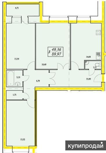 Продам трёхкомнатную квартиру в новом кирпичном доме Дом построен полностью из