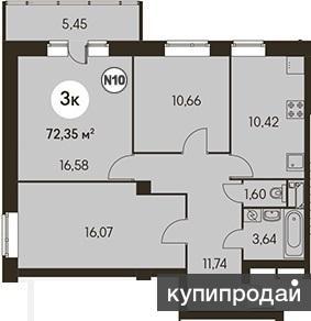 Продам просторную трёхкомнатную квартиру в новом доме Метражи комнаты 16,6 , 16