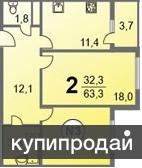 Продам двухкомнатную квартиру в новом доме качественная бюджетная отделка