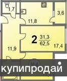 Продам просторную двухкомнатную квартиру в новом доме Метражи комнаты 17,4 , 13