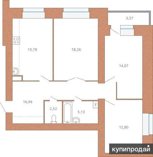 Просторная трёхкомнатная квартира в новом доме, выполненном из керамического