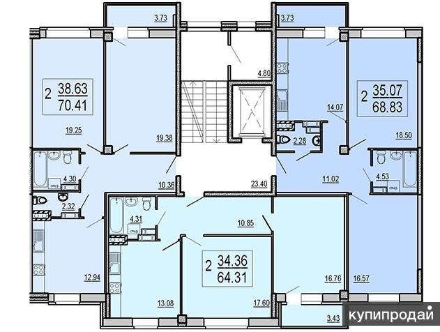 Квартира в готовом доме с индивидуальным отоплением.