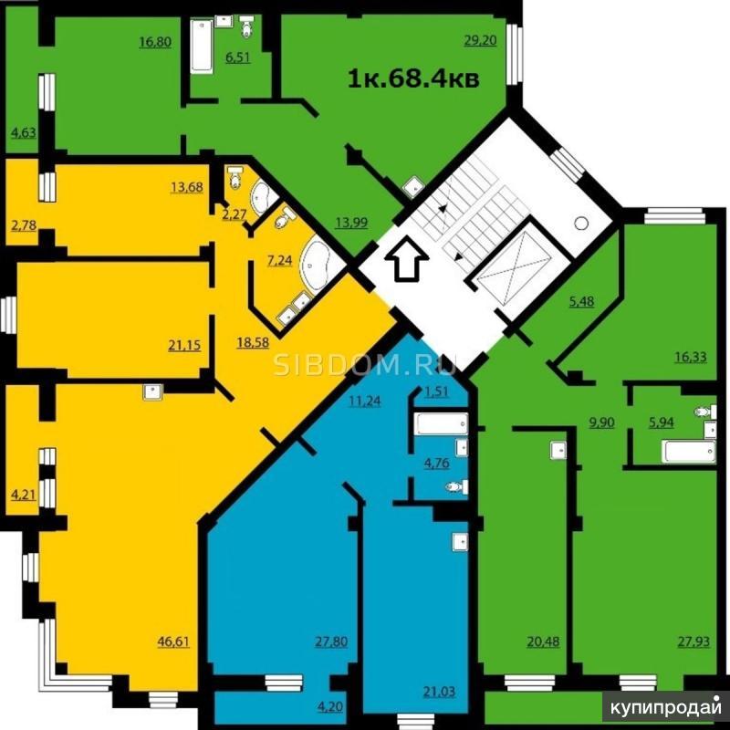 1-к квартира, 61 м2, 4/25 эт.Преображенский 21