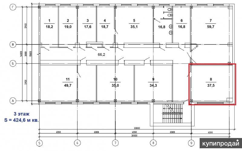 Продается 3-й этаж с офисными помещениями в четырехэтажномбизнес-центре.