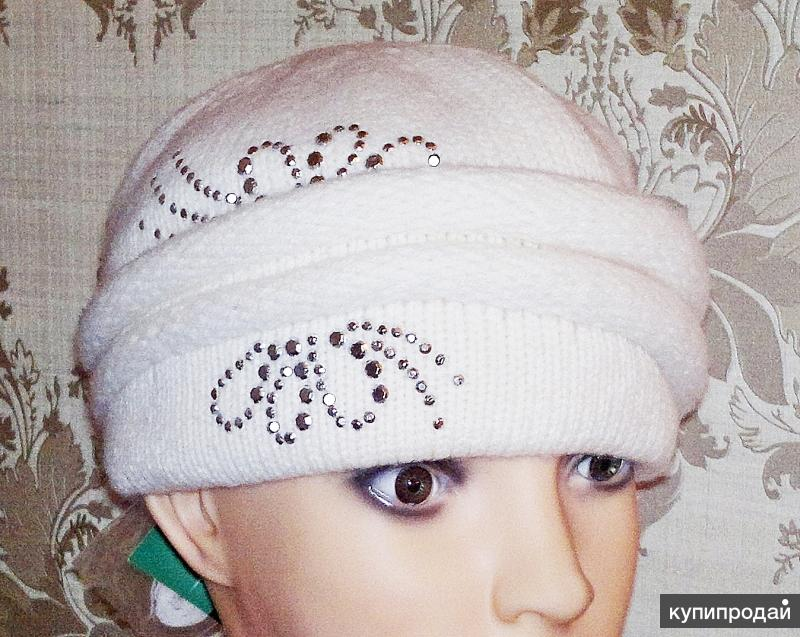 шапка вязаная женская белая (1)
