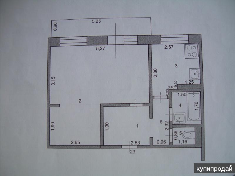 1-к квартира, 39 м2, 5/5 эт.