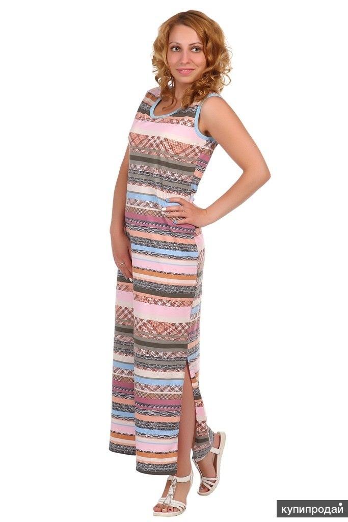 Платье трикотажное Лазурь (голубая отделка)