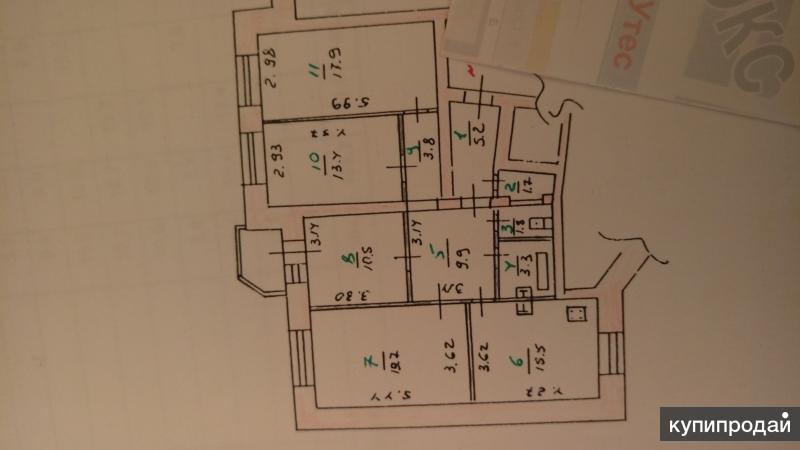 Срочно продаётся 4-х комнатная квартира, 104 м2, 4/5 эт.