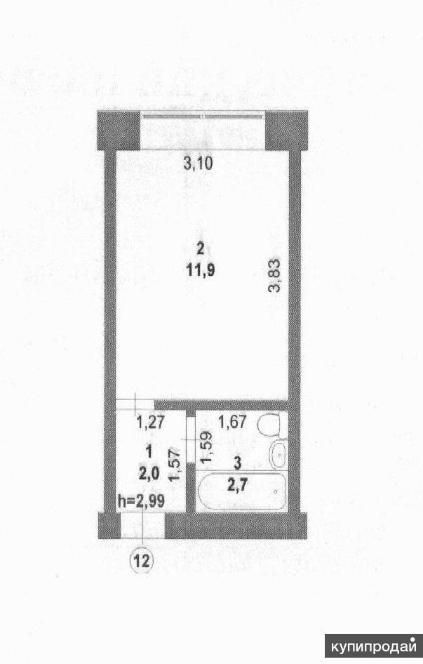 1-к квартира, 16.6 м2, 1/3 эт.