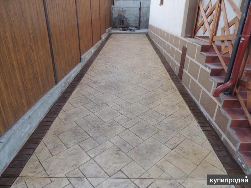 Альтернатива тротуарной плитке- печатный бетон
