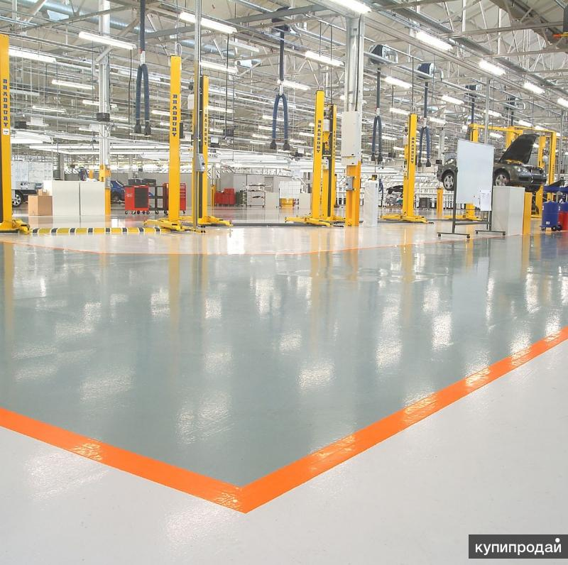 Монтаж наливных полов, полимерный промышленный пол