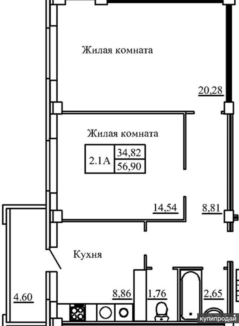 Продам! Двухкомнатная квартира на 8-м этаже  – 61.45 м2, ул. Псковская, д. 56