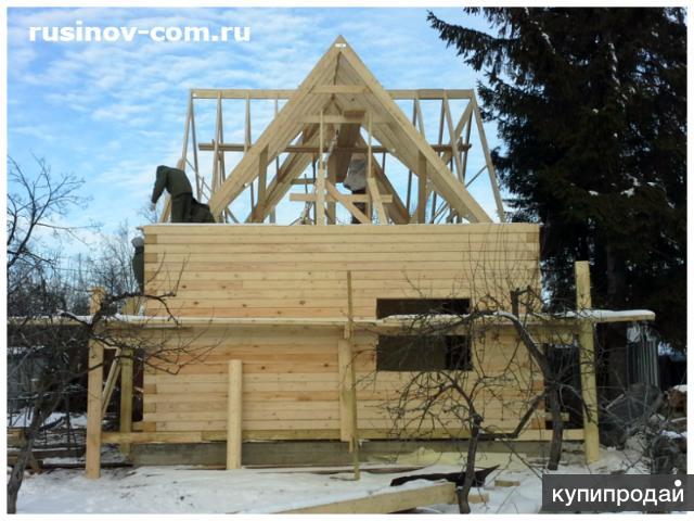 Сруб из проф.бруса 145х145 с просторной мансардой, крыша (м/ч-ца) на 4 фронтона