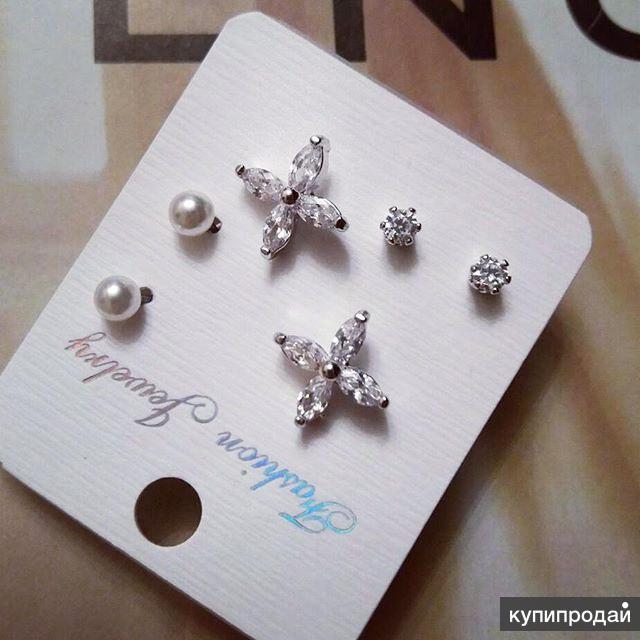 Комплект из 3 пар серьги с цирконами Tiffany Style