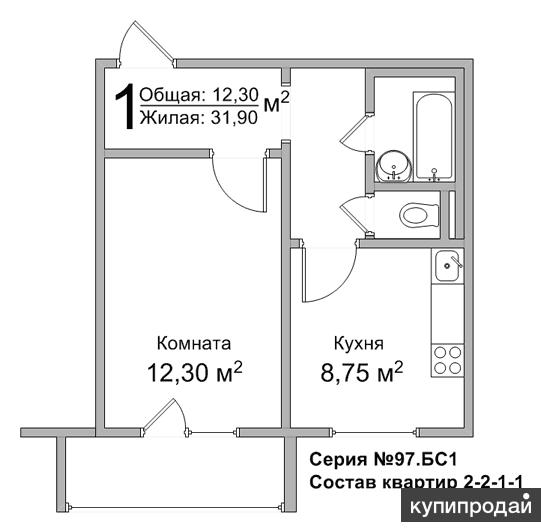 1-к квартира, 31,9 м2, 5/10 эт.