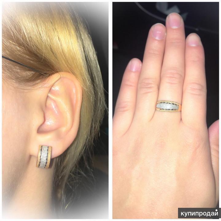 Комплект кольцо+серьги, золото